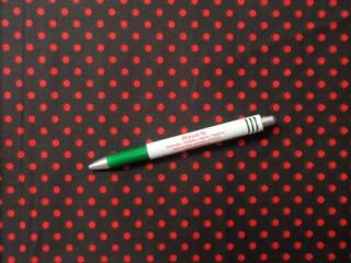 Mintás pamutvászon fekete alapon piros pöttyös (10560)
