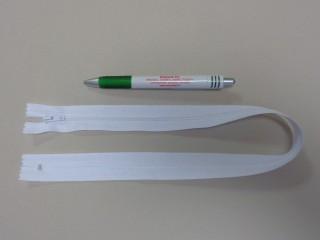 RT-0, 50 cm hosszú, műanyag fogú cipzár, fehér (10659)