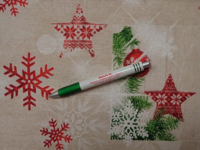 Loneta, karácsonyi vászon, gömbös-csillagos-hópelyhes (10665)