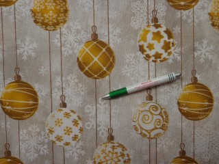 Loneta, karácsonyi vászon, arany gömbös (10681)