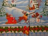Vastag karácsonyi vászon, kék alapon téli mintás, bordűrös (10682)