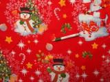 Vastag karácsonyi vászon, piros alapon hóemberes, mikulásos (10683)