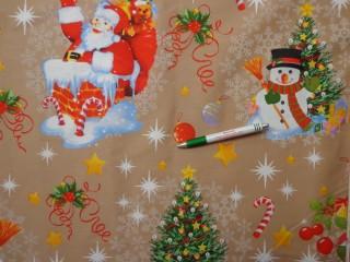 Vastag karácsonyi vászon, drapp alapon hóemberes, mikulásos (10684)