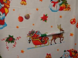 Vastag karácsonyi vászon, fehér alapon hóemberes, mikulásos (10693)