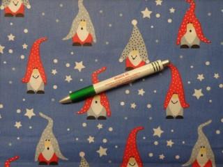 Karácsonyi pamutvászon, kék alapon manós (10697)