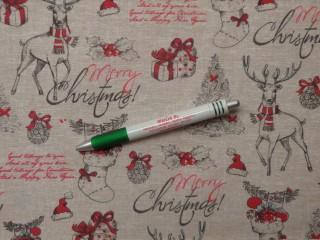 Loneta, karácsonyi vászon, bézs alapon rénszarvasos, ajándékos (10704)