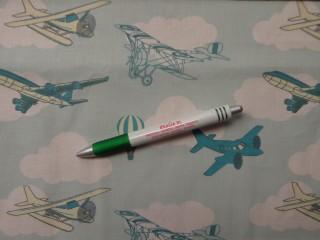 Gyerekmintás pamutvászon, repülős, felhős (10703)