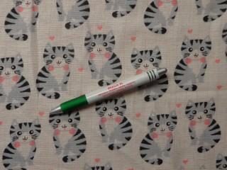 Pelenka anyag, szürke-rózsaszín cicás (10711)