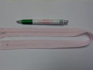 RT-0, 50 cm hosszú, műanyag, spirál fogú cipzár, halvány rózsaszín (10739)
