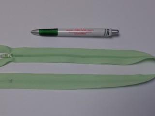 RT-0, 50 cm hosszú, műanyag, spirál fogú cipzár, világos zöld (10746)