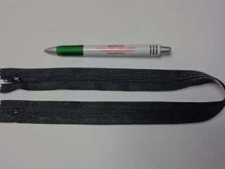 RT-0, 50 cm hosszú, műanyag, spirál fogú cipzár, sötét szürke (10749)