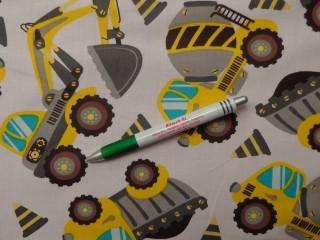 Gyerekmintás pamutvászon, sárga-szürke munkagépes (10784)