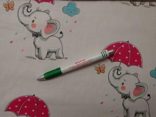 Gyerekmintás pamutvászon, esernyős-elefántos (10818)