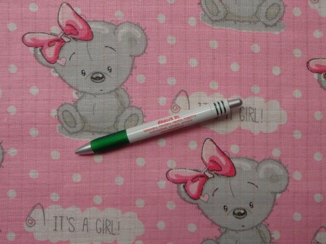 Pelenka anyag, rózsaszín alapon macis (10823)