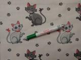 Gyerekmintás pamutvászon, fehér alapon szürke macskás (10841)