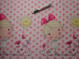Gyerekmintás pamutvászon, rózsaszín alapon pöttyös, kislányos bordűrös (10897)