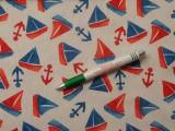 Loneta, piros-kék hajós, horgonyos kerti bútor vászon (10922)
