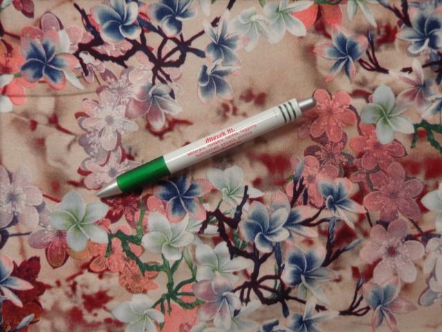 Viscose voile, digitális nyomtatású, bézs alapon színes virágos (10942)