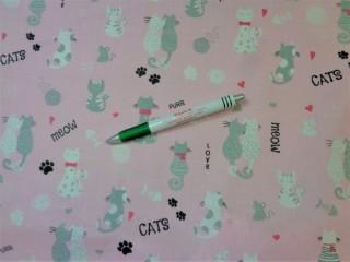 Gyerekmintás pamutvászon, rózsaszín alapon cicás (10993)