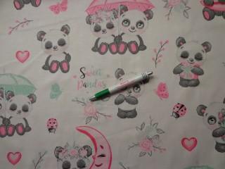 Gyerekmintás pamutvászon, panda macis (11011)