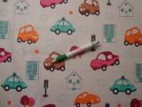 Gyerekmintás pamutvászon, színes autós (11012)