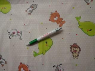 Gyerekmintás pamutvászon, zöld bálnás (11013)
