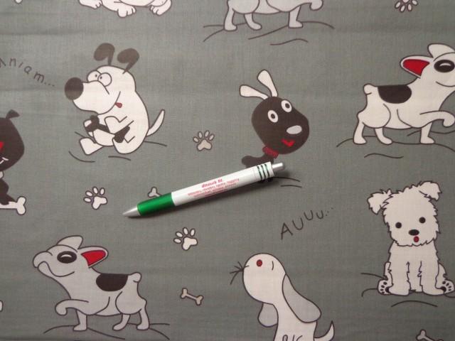 Gyerekmintás pamutvászon, szürke alapon kutyusok (11016)