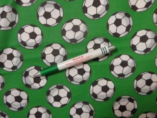 Gyerekmintás pamutvászon, zöld alapon focilabdás (11017)