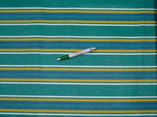 Nyugágyvászon, zöld-fehér-sárga-kék csíkos, 45 cm széles (11039)