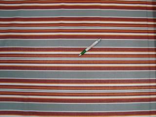 Nyugágyvászon, szürke-fehér-bordó-narancs csíkos, 140 cm széles (11041)