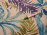 Loneta, ekrü alapon kék-zöld leveles, kerti bútor vászon (11049)