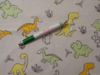 Gyerekmintás pamutvászon, dinós, sárga-zöld (11060)