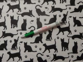 Gyerekmintás pamutvászon, fehér fekete macskás (11068)