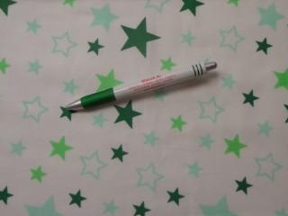 Mintás pamutvászon, fehér alapon, fűzöld-menta csillagos (11070)