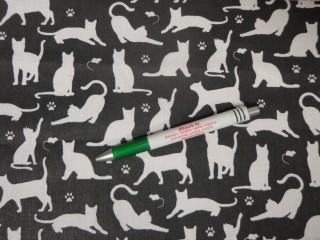 Gyerekmintás pamutvászon, fekete alapon, fehér macskás (11088)