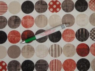 Loneta, barna-terra pöttyös körök, kerti bútor vászon (11090)