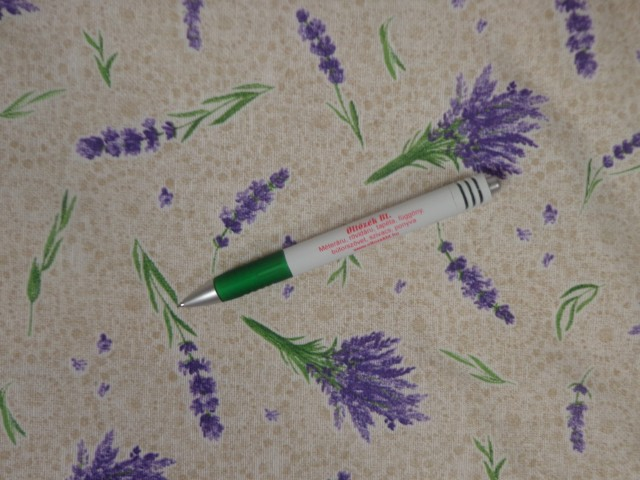 Loneta, drapp-fehér alapon levendula mintás kerti bútor vászon (11101)