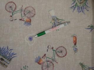 Loneta, drapp alapon levendulás-szíves-biciklis kerti bútor vászon (11107)