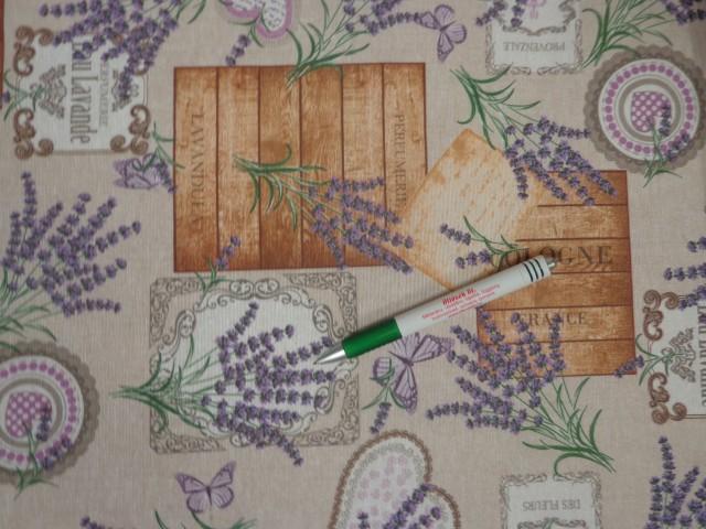 Loneta, drapp alapon levendulás-szíves-pillangós kerti bútor vászon (11108)