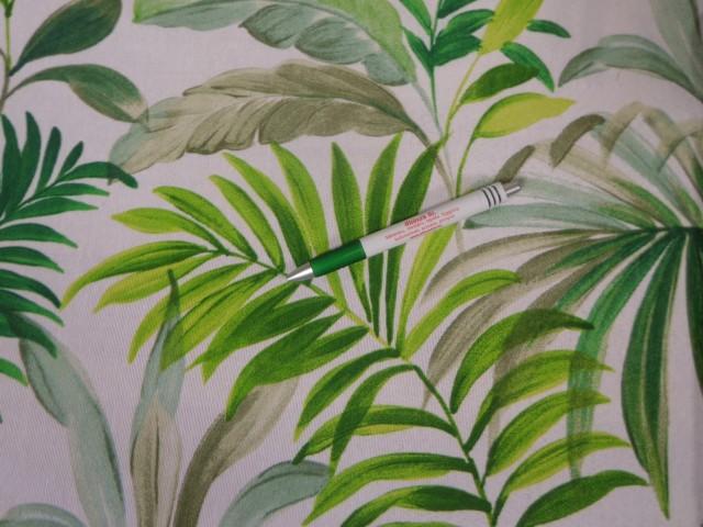 Loneta, törtfehér alapon zöld pálmaleveles, kerti bútor vászon (11109)