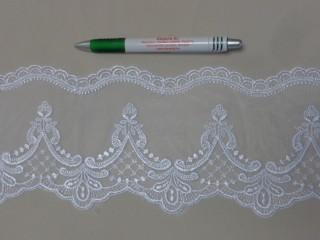 Csipkeszalag, fehér, 12 cm széles (11111)
