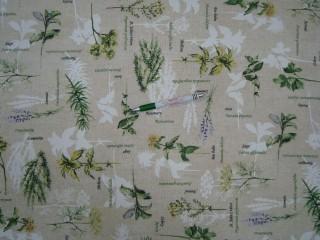 Vízlepergető asztalterítő -  kerti bútor vászon, gyógynövényes-levendulás (11117)