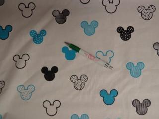 Gyerekmintás pamutvászon, fehér alapon Mickey fejes, türkizkék (11120)