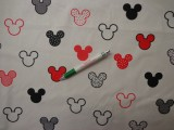 Gyerekmintás pamutvászon, fehér alapon Mickey fejes, piros (11121)