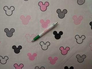 Gyerekmintás pamutvászon, fehér alapon Mickey fejes, rózsaszín (11122)