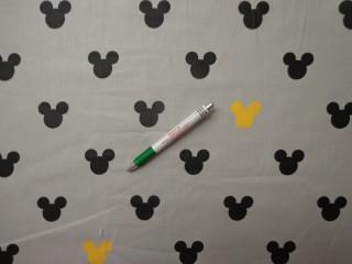 Gyerekmintás pamutvászon, szürke alapon Mickey fejes, fekete-sárga (11123)