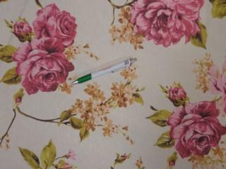 Loneta, ekrü alapon, pink-magenta nagy rózsás kerti bútor vászon (11141)