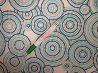 Loneta, ekrü-zöld-szürke-türkiz körös kerti bútor vászon (11143)