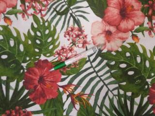 Loneta, hibiszkusz virágmintás kerti bútor vászon (11146)