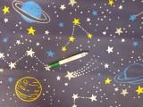 Gyerekmintás pamutvászon, csillagos, bolygós (11163)